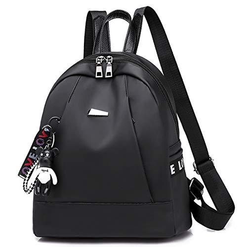 GDLXL Stilvolle Frauen Rucksack geldbörse diebstahl Rucksack für Damen Vogue College Tasche lässig Reise umhängetaschen arbeitsrucksack handtaschen tragen anhänger,Black Vintage Vogue-fotos