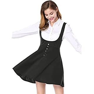 Allegra K Women's Button Decor Flared Hem Above Knee Dress Suspender Skirt L Black