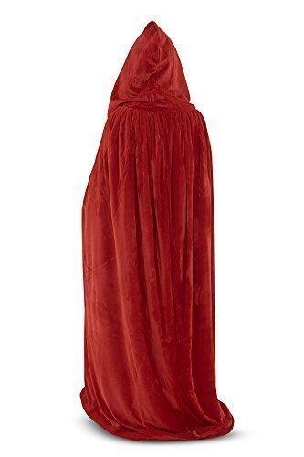 Hooded Velvet Cloak/Cape (Red Velvet/Black Silk)