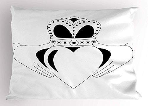 Claddagh Pillow Sham, Tribal Celtic Heart Motif Love and Affection Symbol Traditional Design, Decorative Standard Queen Size Printed Pillowcase, 30 X 20 Inches, Charcoal Grey White -