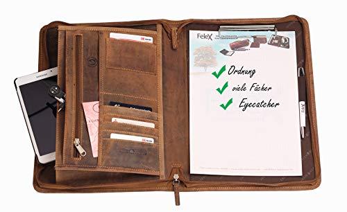 Greenburry Leder-Schreibmappe DIN A4 - Vintage Konferenzmappe mit Reißverschluss - A4 Schreibmappe aus Leder - hochwertige Vertretermappe aus Leder - 36 x 26,5 x 3 cm