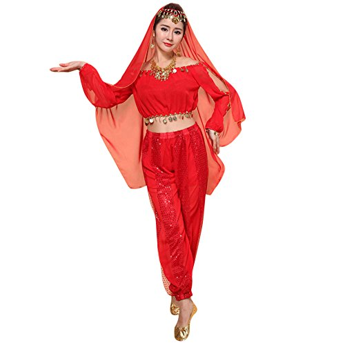 Xmiral Damen Bauchtanz Kostüme Set Indian Dance Dress Kleidung Top Hosen Kostüm für Karneval Mottoparty Maskerade(Rot)