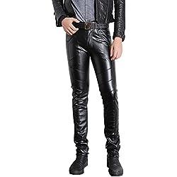 jkqa pantalones de Skinny de piel sintética negro Biker Hombre negro negro 10