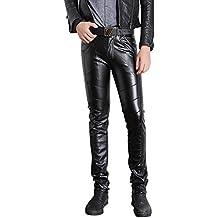 jkqa pantalones ajustados de piel sintética, estilo motero, para Hombre