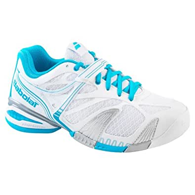 BABOLAT Propulse 4 Ladies Tennis Shoes, White/Blue, UK4.5
