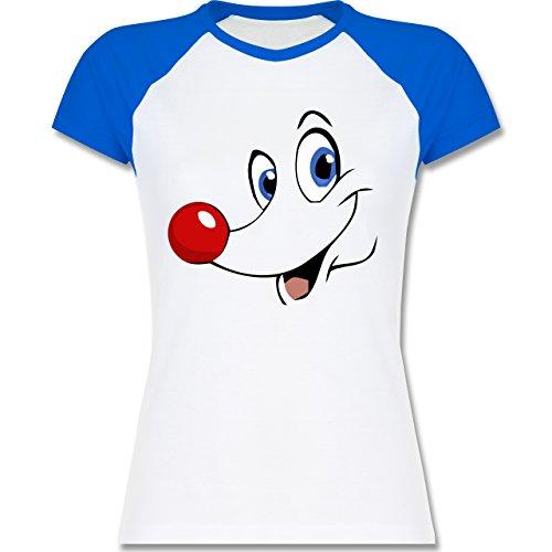 Weihnachten & Silvester - Rudolph Gesicht Rentier - zweifarbiges Baseballshirt / Raglan T-Shirt für Damen Weiß/Royalblau