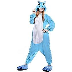 ABYED Adulte Unisexe Anime Animal Costume Cosplay Combinaison Pyjama Outfit Nuit Vetements Onesie Fleece Halloween Costume Soiree de Deguisements, Hippopotame, XL(175-181CM)