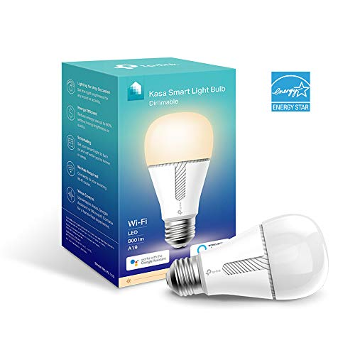 TP-LINK Kasa Smart Wi-Fi LED Light Bulb Dimmable, A19, No Hub Required, Compatible with Alexa and Google Assistant, Also Available for California Residents (KL110), White