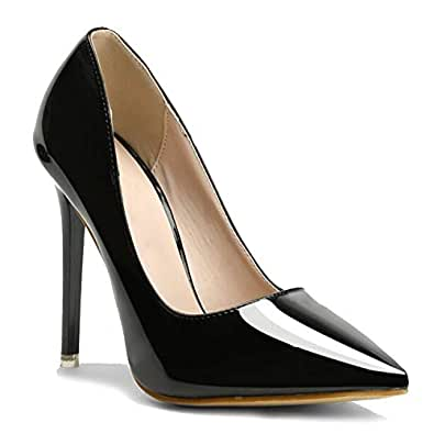 Klaur Melbourne Women Black Pointed Toe Heeled Pumps 4 Inch Heel