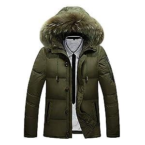 FRAUIT Steppjacke Herren Button Pocket Zipper Männer Winterjacke Winter Jacke Steppjacke Lange Winterjacke gefüttert mit Stehkragen und Abnehmbarer Kapuze
