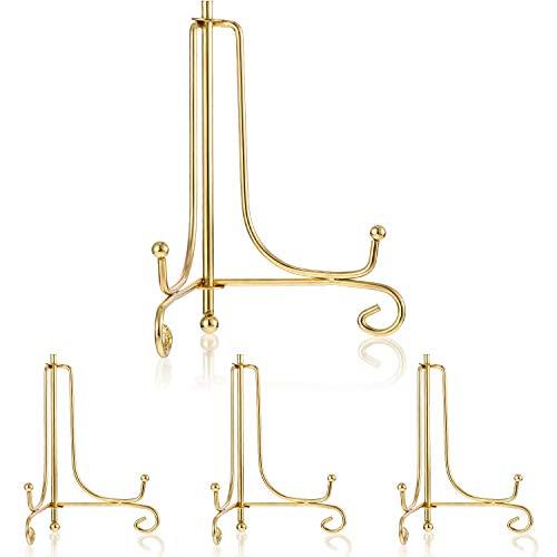 Tatuo 4 Packung Eisen Tllerständer, Eisen Staffelei Display, Foto Halter Stand für Heimtextilien (Gold, 6 Inch) Gold Stand