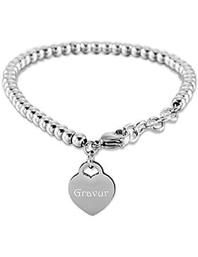 MeMeDIY Silber Rosé Gold Zwei Ton Edelstahl Armband Kugel Perle Perlen Kette Link Herz Einstellbar Verstellbaren...