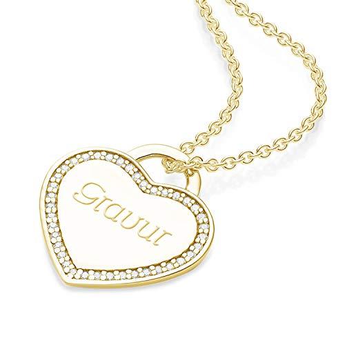 Herz Kette Gravur Gold (Silber 925 hochwertig vergoldet) von AMOONIC + GRATIS Luxusetui+ Kettenanhänger mit Gravurplatte individuell Anhänger gravierbar FF593 VGGGZIFA45