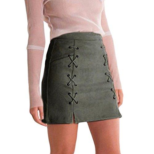 ADESHOP Femmes Bandage Tissu Suede Fabric Mini Sexy Jupe Slim Stretch Sans Couture Jupe armée verte
