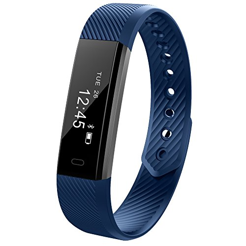 Ginsy, smart wristband, braccialetto per il fitness con monitor touch screen e modalità sleep, bluetooth, per Android e iOS, Blue