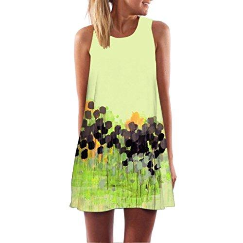 MRULIC Damen Lovely Mini Floral Printing A-Linie Kleider Beach Dress Vintage Boho Frauen Sommer Ärmelloses Party Kleide(R-Gelb,EU-44/CN-XL)