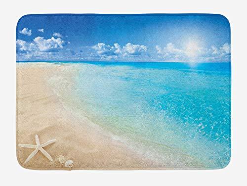 Strand Badematte, sonnigen Sommer Küste mit klaren Himmel Muscheln Seestern Wolken Wasserbild, Plüsch Bad Dekor Matte mit Rutschfester Unterlage (Küsten-badematte)