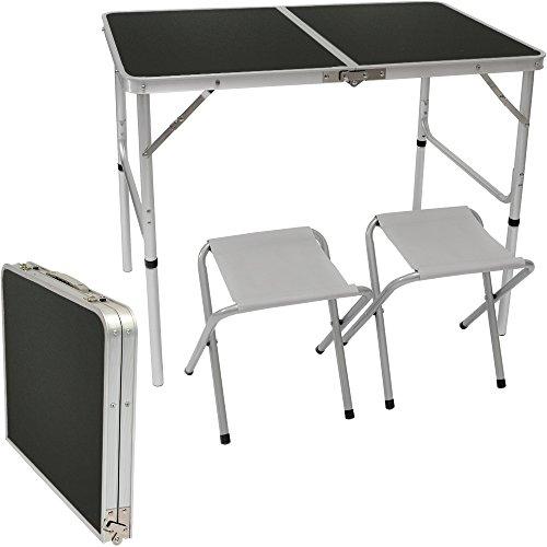 AMANKA Mesa para acampada 90x60x70cm incl 2 Taburetes plegable portátil como si fuera un maletín altura regulable para pícnic camping Gris Oscuro
