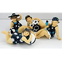Cauldron Gifts SEASIDE BEACH BEAUTY LADIES IN BATHING COSTUME SET OF 4 ORNAMENTS
