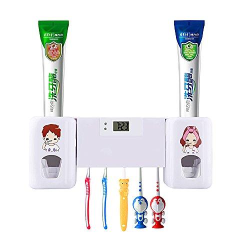 Dispensador automático de pasta de dientes Con 5 soportes para cepillos de dientes, para adultos y niños (Blanco)