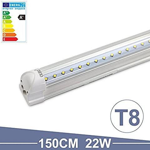 OUBO 5FT LED T8 Tube Light Fluorescent Daylight 150cm Cool White 6500K 23W 2300Lm Transparent cover SMD 2835 G13 230 volts for home, hotel, warehouse, shops or