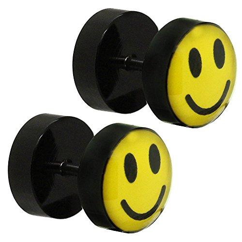 tumundo 2 Pendientes Aretes Piercing Plug Falso Tunnel Fakeplugs Negro Amarillo Smiley Acrílico 10mm Oreja Enchufes