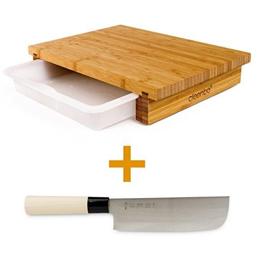 cleenbo Set Schneidbrett Bambus'classic bamboo' Holz Küchenbrett mit japanischem Kochmesser,...