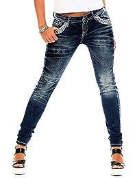 Cipo & Baxx Damen Jeans WD-244 Slim Leg dicke Nähte