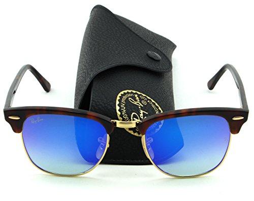 Ray-Ban RB3016 Clubmaster Flash Gradient Series Unisex Sunglasses (Red Havana Frame/Blue Mirror Gradient Lens 990/7Q, 51)