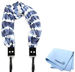 Capturing Couture Tie-die Blue Scarf Camera Strap and a Bonus Ivation Spot Cleaning Cloth