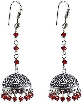 Pendientes de cristal rojo, templo joyería india plata jhumkas-large Jhumki gitana tribal joyería por silvesto India pg-30737