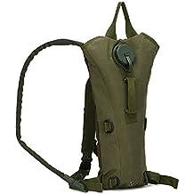 Táctica militar Mochila de hidratación 3L agua bolsa de tela de nailon con 3L hidratación deporte senderismo escalada Mochila de hidratación, Army Green