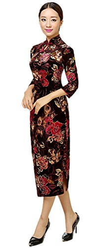 Smile YKK Femme Robe Longue Chinois Style Cheongsam Floral Velours Multicolore