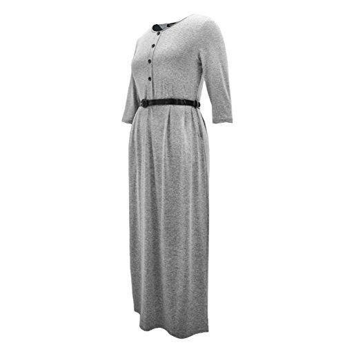 ESHOO Femmes Vintage Élégante Taille haute Robe Manche Longue Pour Automne Hiver Avec Ceinture Gris