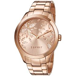 Esprit Lily Dazzle Women's Quartz Watch with Rose Gold Dial Analogue Display and Rose Gold Stainless Steel Bracelet ES107282002