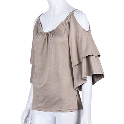 Tonsee Femmes d'été en vrac Off épaule Réservoir Casual Tops T-Shirt Blouse Kaki