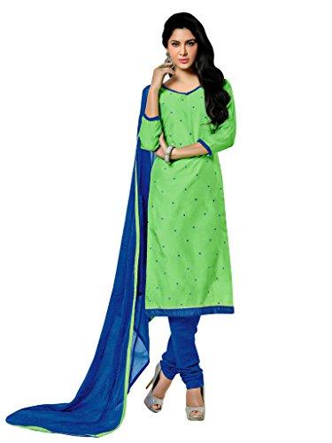 Applecreation Green Chanderi Salwar Kameez