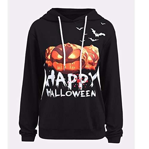 MERICAL Halloween Frauen Kürbis Teufel Sweatshirt Pullover Tops Bluse Shirt Plus Größe(EU:52/CN:XXXXXL,Schwarz)
