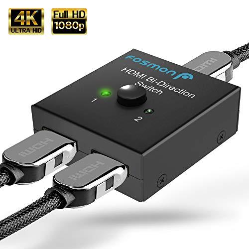 Fosmon 2-Port HDMI 2.0 Umschalter 4K 60Hz, 2x1 / 1x2 Bidirektionaler HDMI Switch Verteiler UHD 3D HD 1080p HDCP 4Kx2K, 2 zu 1 Splitter Kompatibel Mit HDTV, PS4 Xbox One, Apple TV, Roku, Fire TV Stick