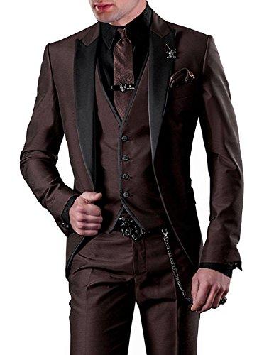 Lilis® Herrenanzug 3pc Anzug Einreiher Slim Fit Kleid Anzug Jacken Weste & Hose