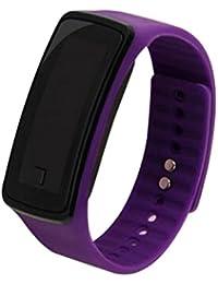 Los amantes de la moda deportes reloj de pulsera electrónica LED reloj de pulsera reloj unisex color morado