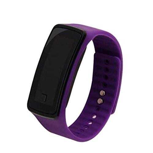 joyliveCY-Moda deportes reloj de pulsera electrš®nica LED reloj de pulsera unisex color morado de los amantes