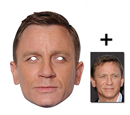 Daniel Craig berühmtheit James Bond Single Karte Partei Gesichtsmasken (Maske) Enthält 6X4 (15X10Cm) (Masken Kostüme Hollywood)