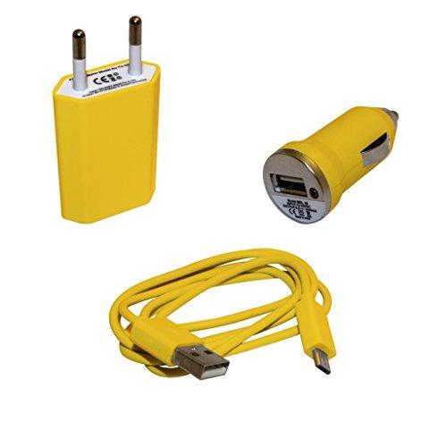 Kit 3 in 1 caricabatteria GIALLO alimentatore da casa e micro carica batteria da accendisigari auto per Samsung S3 i9300 - Note 2 n7100 - S3 Mini i8190 - Nexus 4 - Optimus L7 L9 con cavo USB