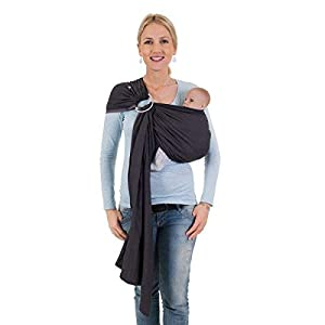 Hoppediz Ring Sling for Baby Carrying (London Grey)   3