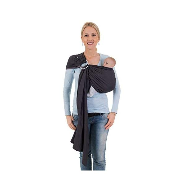 Hoppediz Ring Sling for Baby Carrying (London Grey) Hoppediz Suitable from birth until parent or child chooses to stop carrying The ring slings are almost used for hip carrying; newborn babies can be carried in the cradle position The ring of the ring Sling consists of aluminium in tested quality 1