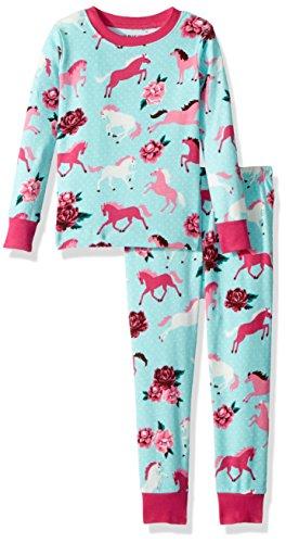 Hatley Little Blue House by Mädchen Long Sleeve Pyjama Sets Zweiteiliger Schlafanzug, Blau (Ponies & Peonies 400), Jahre (Herstellergröße: 10)