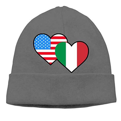 VYPHN Unisex American Italian Heart Flag-1 Soft Skull Beanie Cap