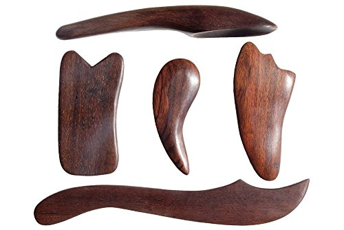 Salute in legno, 5pz. gua sha therapy reflexology health thai massage wooden stick relax tool.
