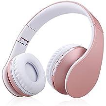 Xunpuls - Auriculares de diadema con Bluetooth, inalámbricos, plegables, estéreo de alta fidelidad y auriculares con cable 4 en 1 con tarjeta micro SD/TF para teléfonos móviles, ordenador oro rosa